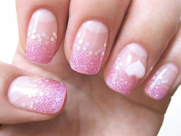 valentines-day-pink-glitter-french-nails-white-heart